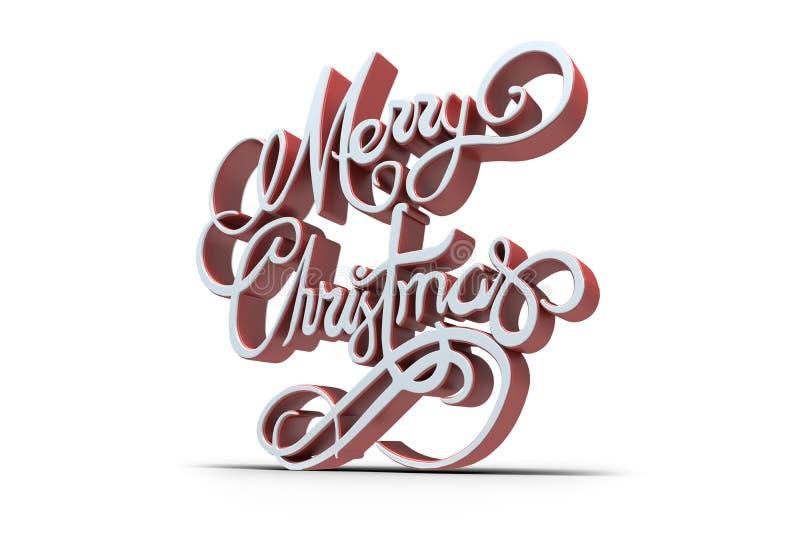 Τρισδιάστατο κείμενο της Χαρούμενα Χριστούγεννας στο άσπρο και κόκκινο χρώμα απεικόνιση αποθεμάτων