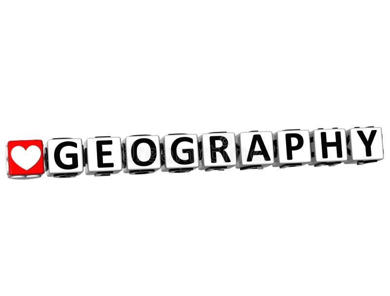 τρισδιάστατο κείμενο φραγμών κουμπιών γεωγραφίας μελέτης αγάπης Ι στο άσπρο υπόβαθρο απεικόνιση αποθεμάτων