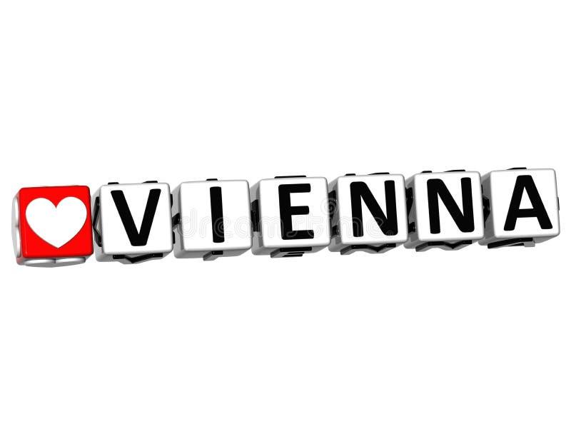τρισδιάστατο κείμενο φραγμών σταυρόλεξων της Βιέννης αγάπης Ι στο άσπρο υπόβαθρο απεικόνιση αποθεμάτων