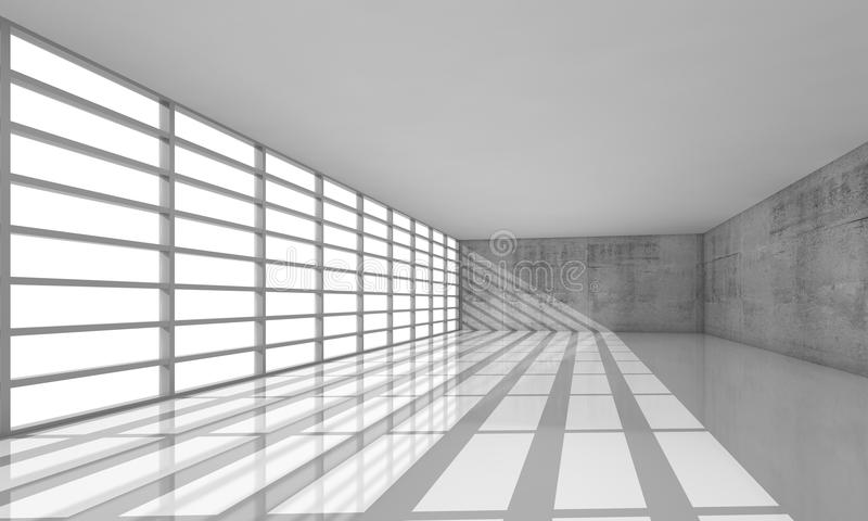 τρισδιάστατο κενό άσπρο εσωτερικό ανοιχτού χώρου με τα φωτεινά παράθυρα ελεύθερη απεικόνιση δικαιώματος