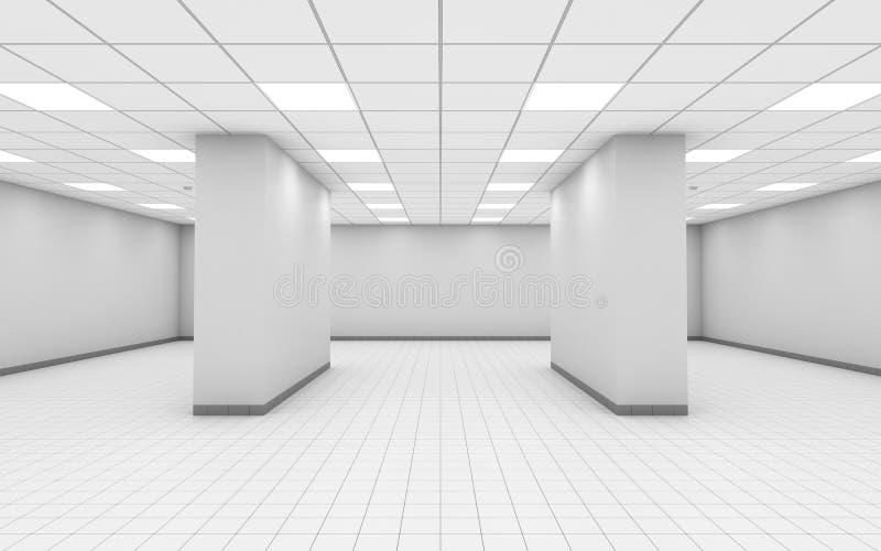 τρισδιάστατο κενό άσπρο εσωτερικό δωματίων γραφείων με τις στήλες διανυσματική απεικόνιση