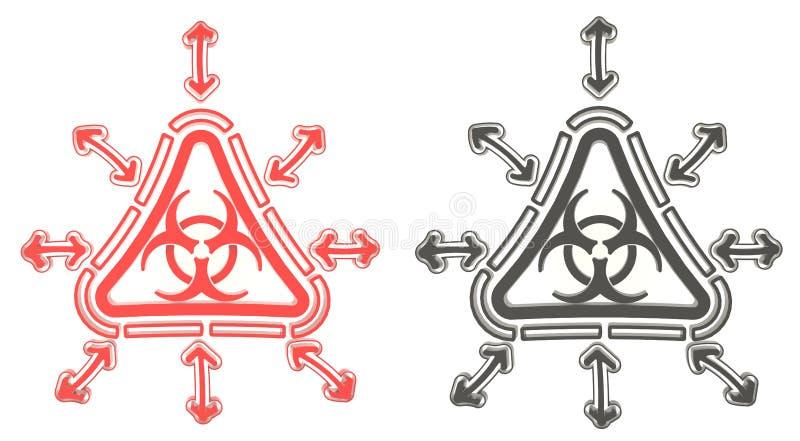 τρισδιάστατο κόκκινο και μαύρο σύμβολο ακτινοβολίας τριγώνων biohazard απομονωμένος ελεύθερη απεικόνιση δικαιώματος
