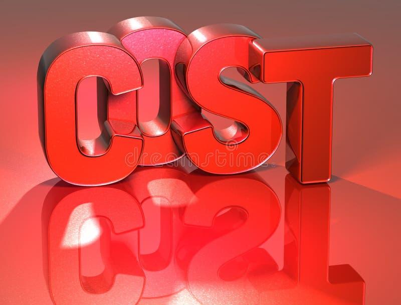 τρισδιάστατο κόστος του Word στο κόκκινο υπόβαθρο ελεύθερη απεικόνιση δικαιώματος