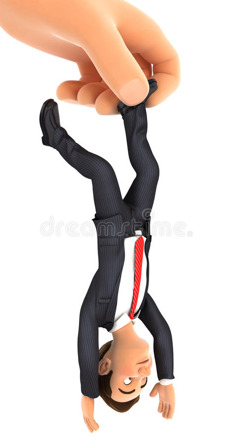 τρισδιάστατο μεγάλο χέρι που πιάνει τον επιχειρηματία από το πόδι διανυσματική απεικόνιση