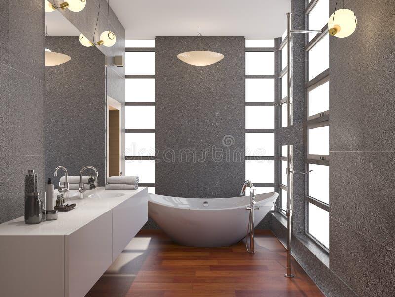 τρισδιάστατο ξύλινο σύγχρονο λουτρό απόδοσης με τον τοίχο κεραμιδιών παραθύρων και πετρών διανυσματική απεικόνιση
