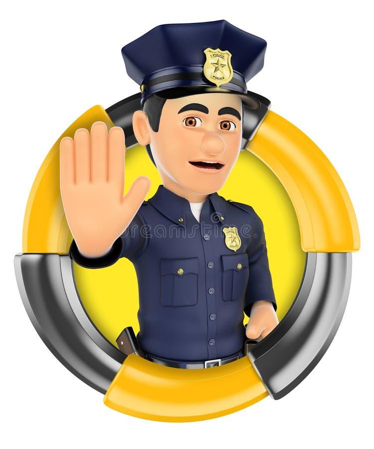 τρισδιάστατο λογότυπο Αστυνομικός που διατάζει για να σταματήσει με το χέρι ελεύθερη απεικόνιση δικαιώματος