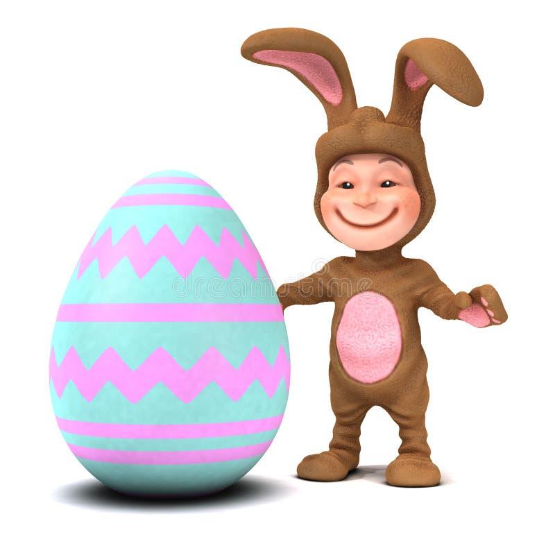 τρισδιάστατο παιδί στο κοστούμι λαγουδάκι με το αυγό Πάσχας ελεύθερη απεικόνιση δικαιώματος
