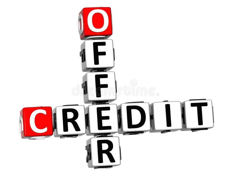 τρισδιάστατο πιστωτικό σταυρόλεξο προσφοράς απεικόνιση αποθεμάτων