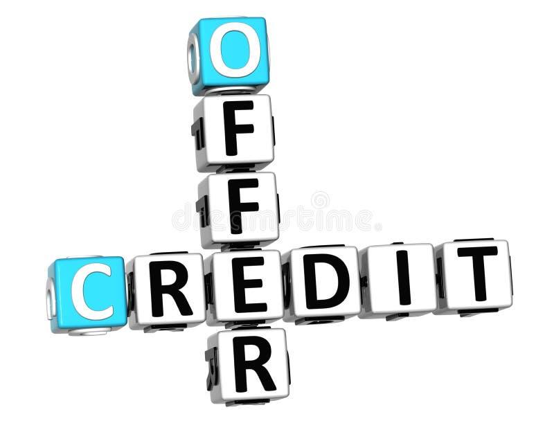 τρισδιάστατο πιστωτικό σταυρόλεξο προσφοράς διανυσματική απεικόνιση