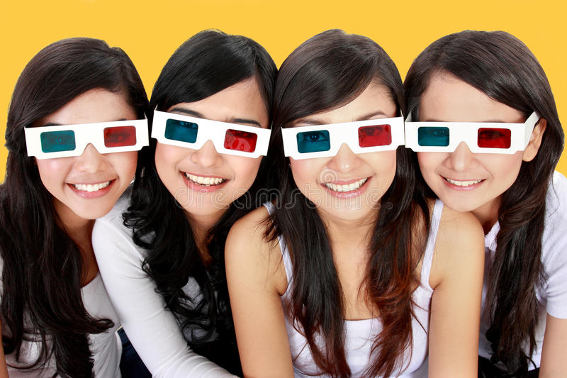 τρισδιάστατο πορτρέτο γυναικών γυαλιών στοκ εικόνα