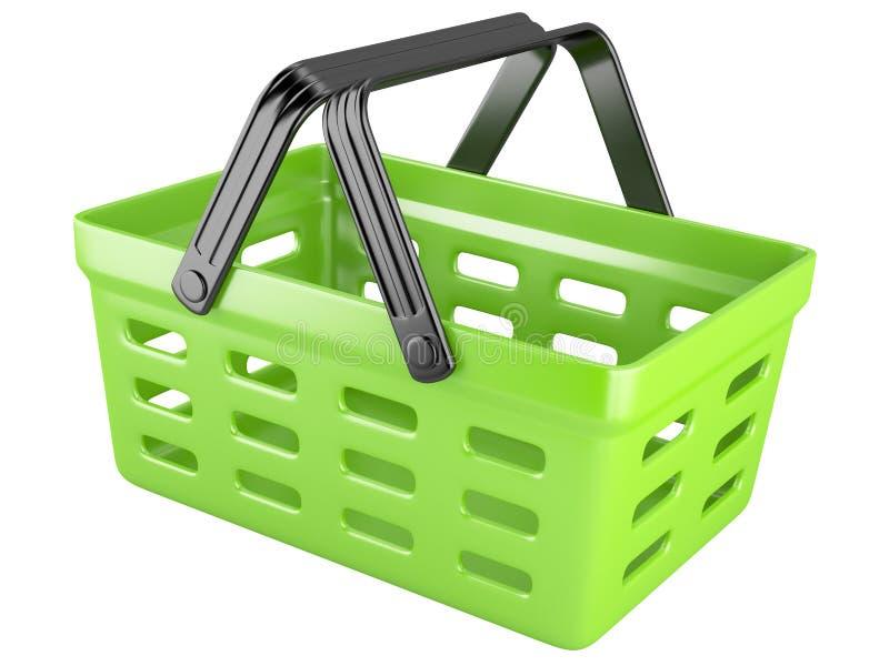 τρισδιάστατο πράσινο καλάθι αγορών απεικόνιση αποθεμάτων