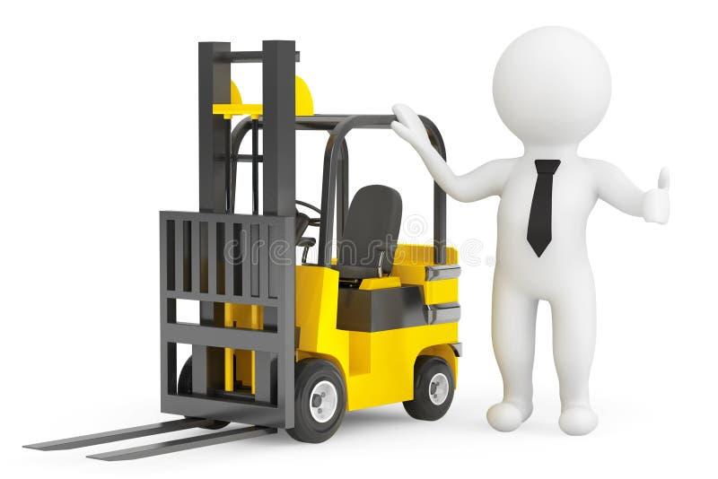 τρισδιάστατο πρόσωπο με Forklift το φορτηγό απεικόνιση αποθεμάτων