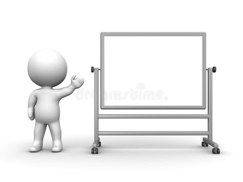 τρισδιάστατο άτομο που παρουσιάζει μεγάλο Whiteboard ελεύθερη απεικόνιση δικαιώματος