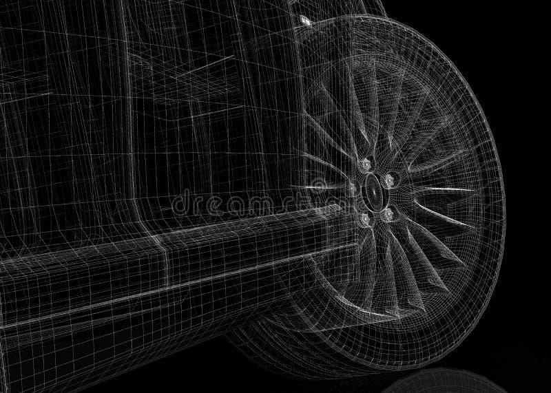 Τρισδιάστατο πρότυπο αυτοκινήτων Στοκ Εικόνες