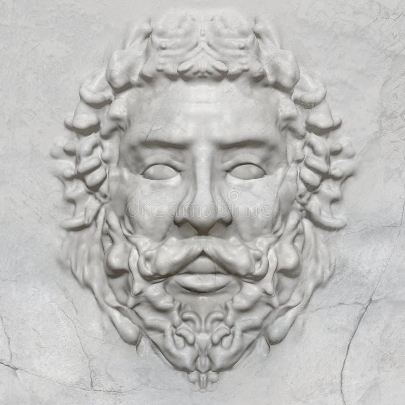 τρισδιάστατο πρότυπο ενός ελληνικού του προσώπου αγάλματος bas-ανακούφισης ατόμων απεικόνιση αποθεμάτων