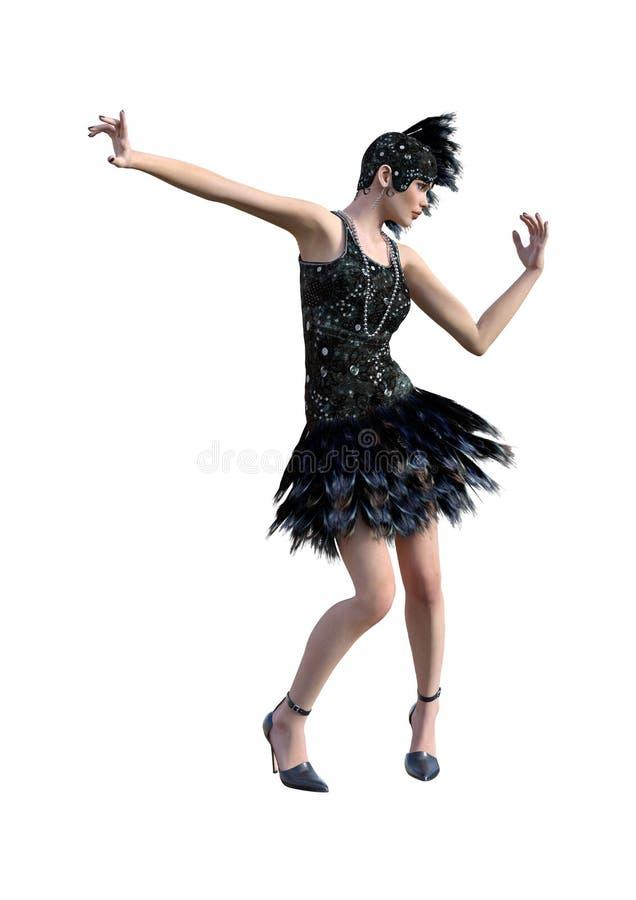τρισδιάστατο πτερύγιο απεικόνισης που χορεύει στο λευκό ελεύθερη απεικόνιση δικαιώματος