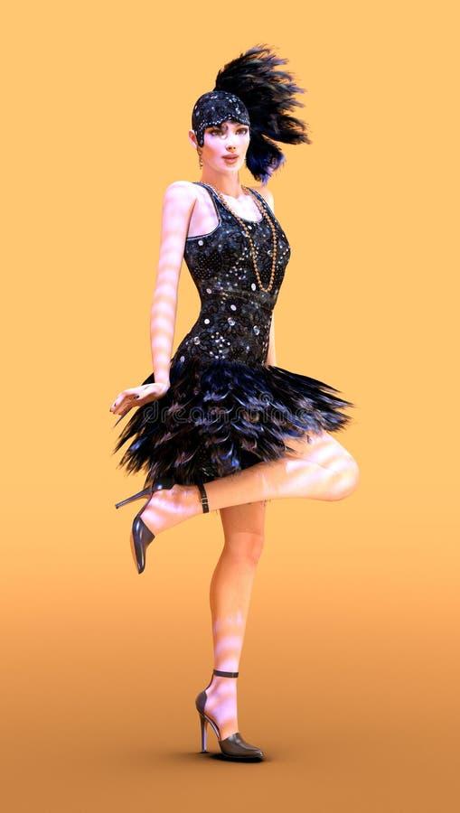 τρισδιάστατο πτερύγιο απόδοσης που χορεύει στο λευκό διανυσματική απεικόνιση