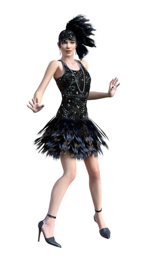 τρισδιάστατο πτερύγιο απόδοσης που χορεύει στο λευκό ελεύθερη απεικόνιση δικαιώματος