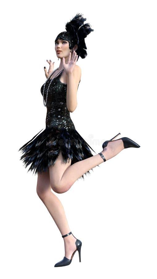 τρισδιάστατο πτερύγιο απόδοσης που χορεύει στο λευκό απεικόνιση αποθεμάτων