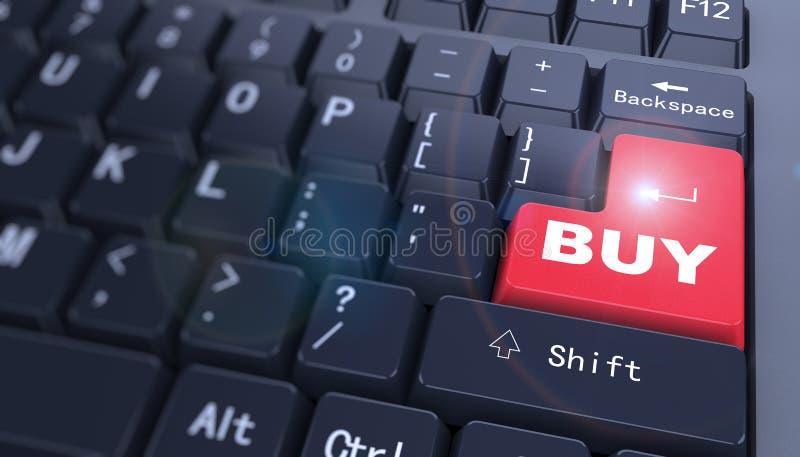 τρισδιάστατο πληκτρολόγιο - η λέξη αγοράζει διανυσματική απεικόνιση
