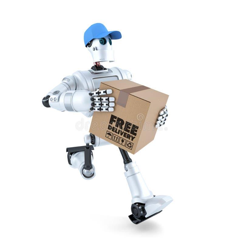 τρισδιάστατο ρομπότ αγγελιαφόρων με τη συσκευασία παράδοση έννοιας ελεύθε& απομονωμένος Περιέχει το μονοπάτι ψαλιδίσματος διανυσματική απεικόνιση