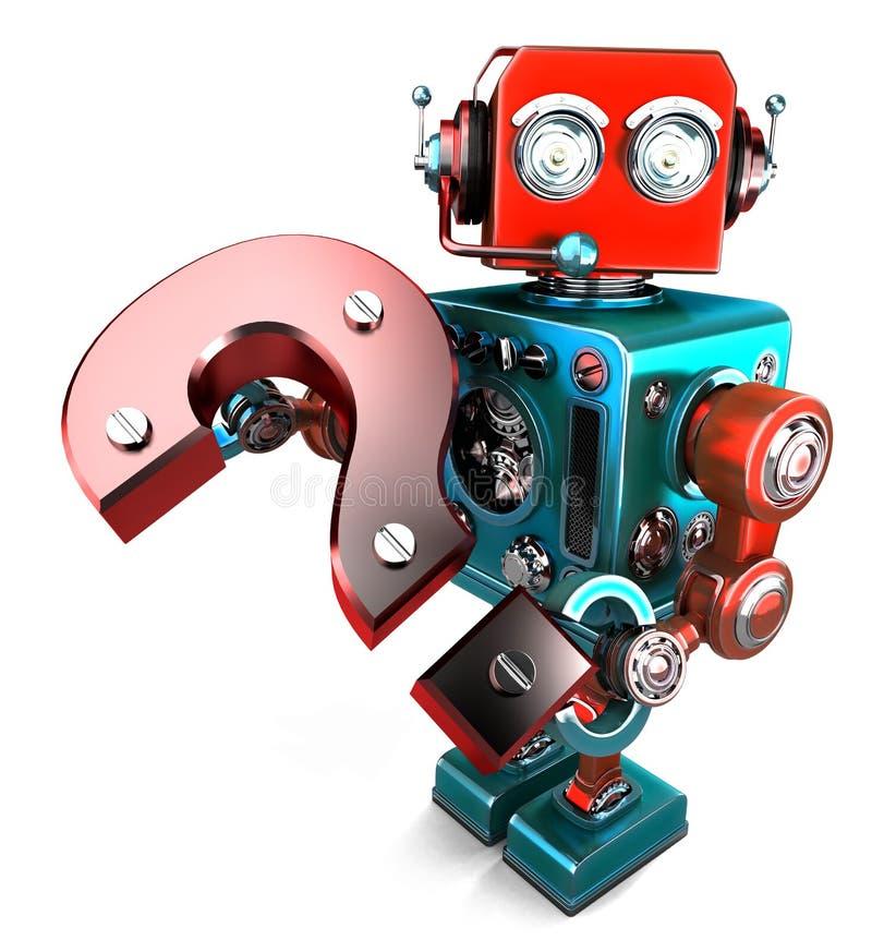 τρισδιάστατο ρομπότ με το ερωτηματικό απομονωμένος Περιέχει το μονοπάτι ψαλιδίσματος απεικόνιση αποθεμάτων