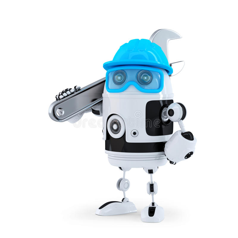 τρισδιάστατο ρομπότ με το διευθετήσιμο γαλλικό κλειδί απομονωμένο έννοια λευκό τεχνολογίας απομονωμένος Περιέχει το μονοπάτι ψαλι ελεύθερη απεικόνιση δικαιώματος