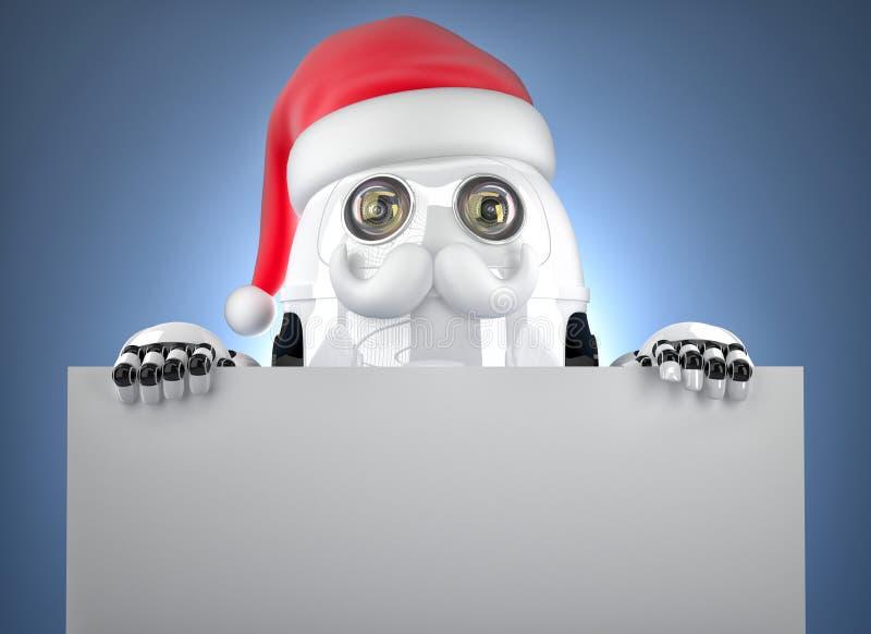 τρισδιάστατο ρομπότ Santa που παρουσιάζει κενό έμβλημα Έννοια Χριστουγέννων Περιέχει το μονοπάτι ψαλιδίσματος ελεύθερη απεικόνιση δικαιώματος