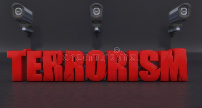 Τρισδιάστατο σήμα τρομοκρατίας στάσεων διανυσματική απεικόνιση