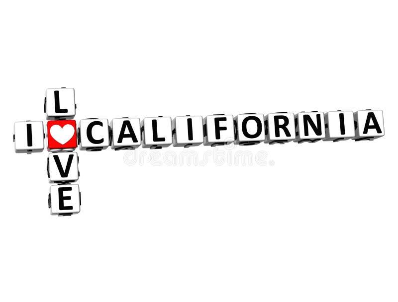 τρισδιάστατο σταυρόλεξο Ι αγάπη Καλιφόρνια στο άσπρο υπόβαθρο διανυσματική απεικόνιση