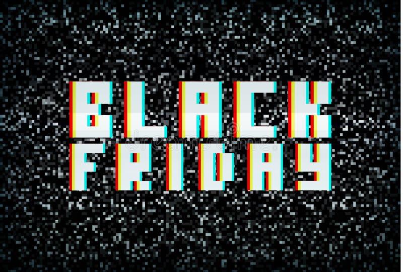 τρισδιάστατο στερεοφωνικό έμβλημα Παρασκευής επίδρασης μαύρο, ανακοίνωση πώλησης διανυσματική απεικόνιση