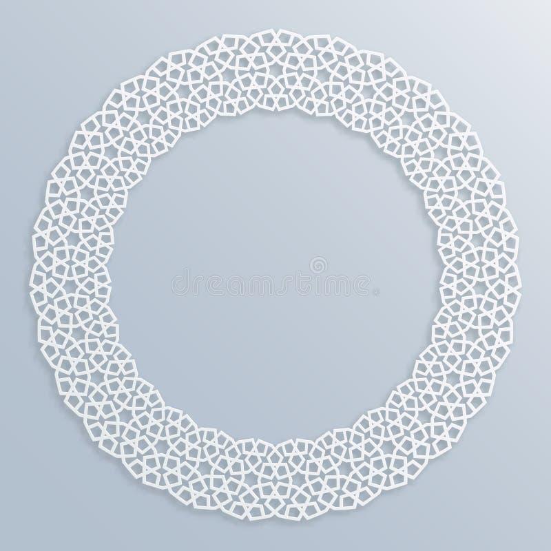 τρισδιάστατο στρογγυλό άσπρο πλαίσιο, σύντομο χρονογράφημα Ισλαμικά γεωμετρικά σύνορα, bas-ανακούφιση Διανυσματικό μουσουλμανικό, διανυσματική απεικόνιση