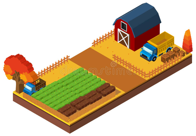 τρισδιάστατο σχέδιο για την αυλή με τη σιταποθήκη και τις συγκομιδές διανυσματική απεικόνιση