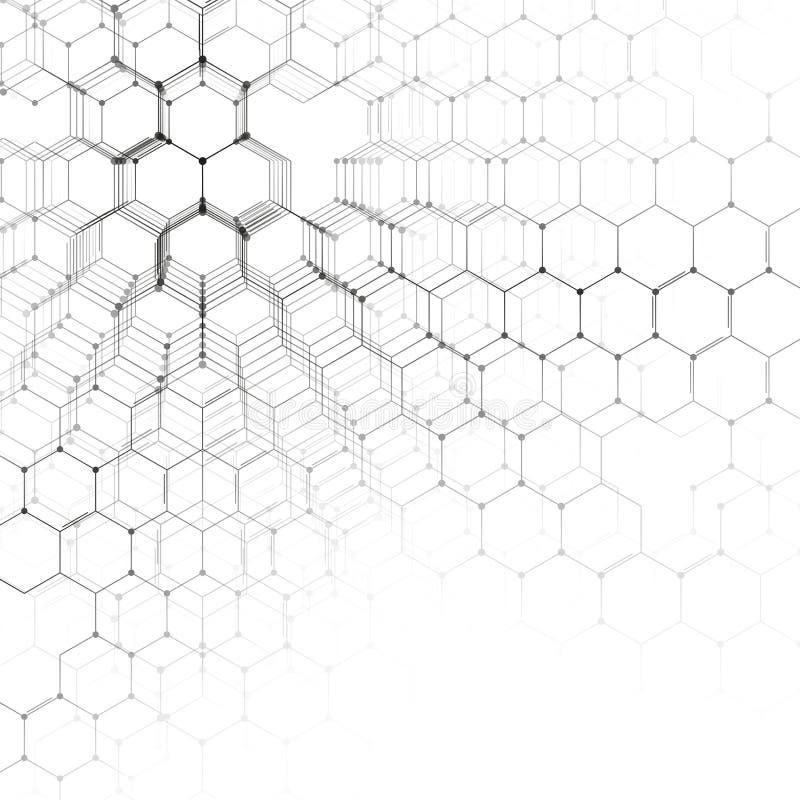 Τρισδιάστατο σχέδιο χημείας, εξαγωνική δομή μορίων στην άσπρη, επιστημονική ιατρική έρευνα Ιατρική, επιστήμη και ελεύθερη απεικόνιση δικαιώματος