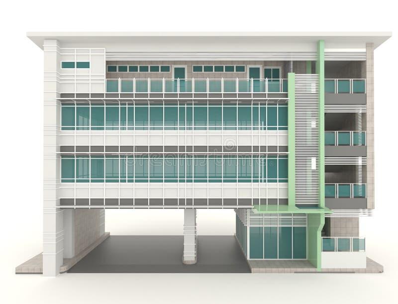 τρισδιάστατο σύγχρονο εξωτερικό σχέδιο αρχιτεκτονικής κτιρίου γραφείων στο λευκό διανυσματική απεικόνιση