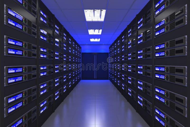 τρισδιάστατο σύγχρονο εσωτερικό του δωματίου κεντρικών υπολογιστών στοκ εικόνες