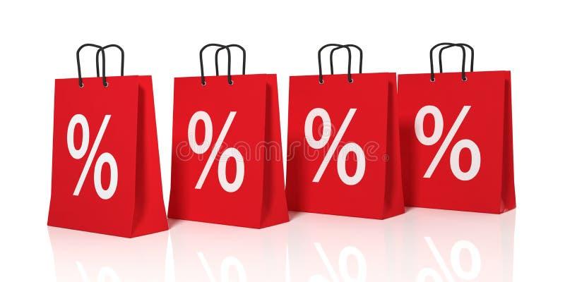 τρισδιάστατο σύμβολο έκπτωσης απόδοσης στις τσάντες αγορών απεικόνιση αποθεμάτων