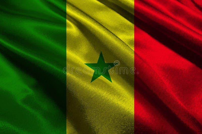 Τρισδιάστατο σύμβολο απεικόνισης εθνικών σημαιών της Σενεγάλης Σημαία της Σενεγάλης στοκ φωτογραφία