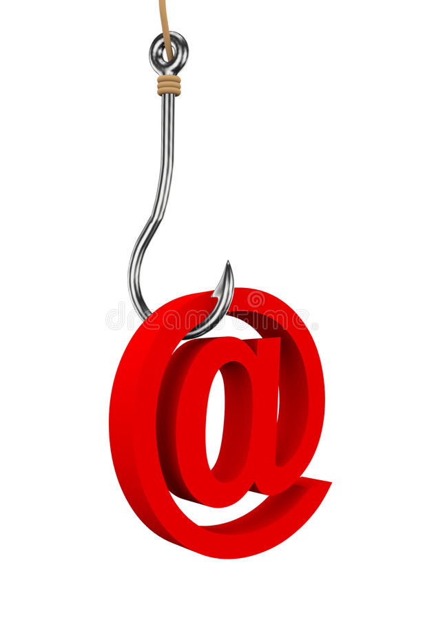 τρισδιάστατο σύμβολο σημαδιών ηλεκτρονικού ταχυδρομείου που συνδέεται με την αλιεία του γάντζου ελεύθερη απεικόνιση δικαιώματος