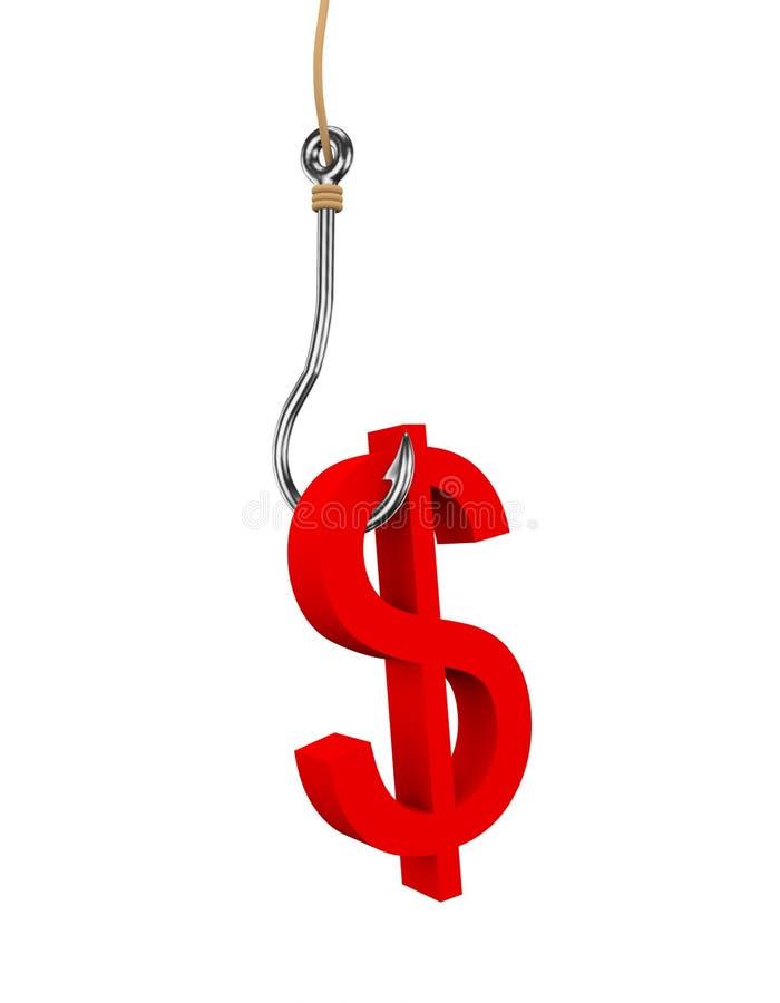 τρισδιάστατο σύμβολο σημαδιών δολαρίων που συνδέεται με την αλιεία του γάντζου ελεύθερη απεικόνιση δικαιώματος