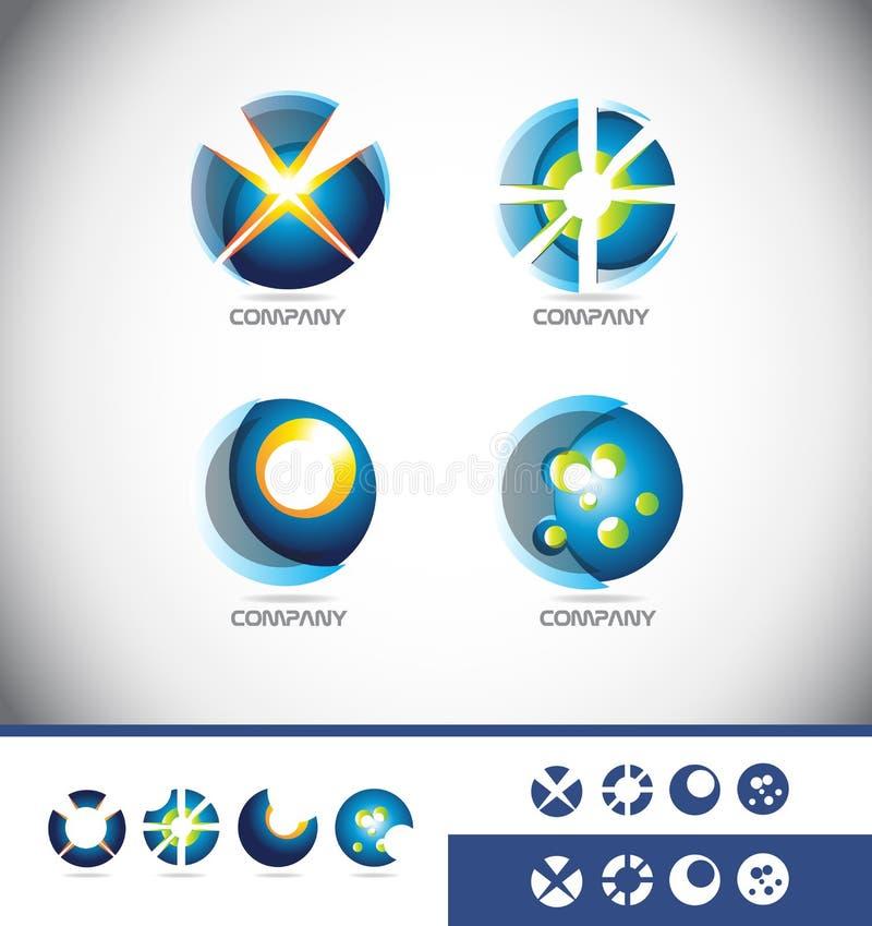 Τρισδιάστατο σύνολο εικονιδίων λογότυπων σφαιρών ελεύθερη απεικόνιση δικαιώματος