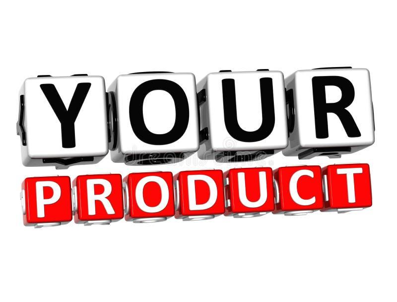 τρισδιάστατο το κουμπί προϊόντων σας χτυπά εδώ το κείμενο φραγμών απεικόνιση αποθεμάτων