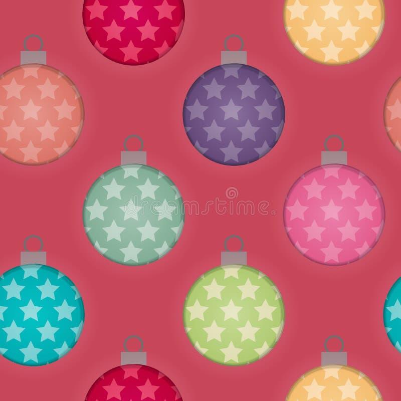 τρισδιάστατο υπόβαθρο μπιχλιμπιδιών Χριστουγέννων επίδρασης άνευ ραφής στοκ εικόνα με δικαίωμα ελεύθερης χρήσης