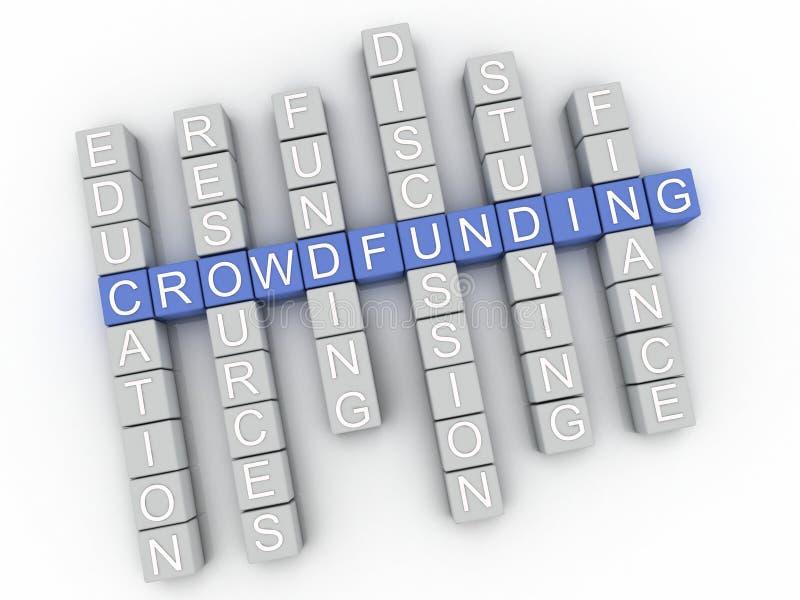 τρισδιάστατο υπόβαθρο σύννεφων λέξης έννοιας ζητημάτων Crowdfunding εικόνας απεικόνιση αποθεμάτων