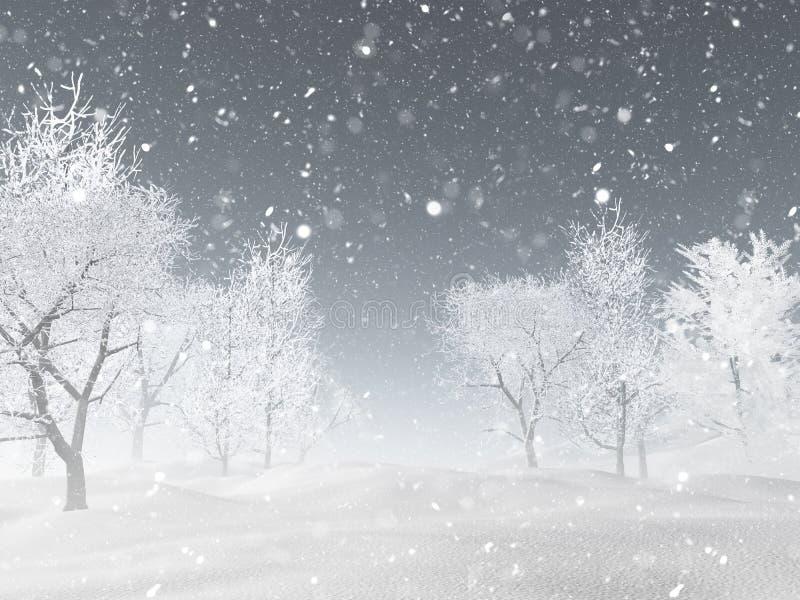 τρισδιάστατο χειμερινό τοπίο με το χιόνι διανυσματική απεικόνιση