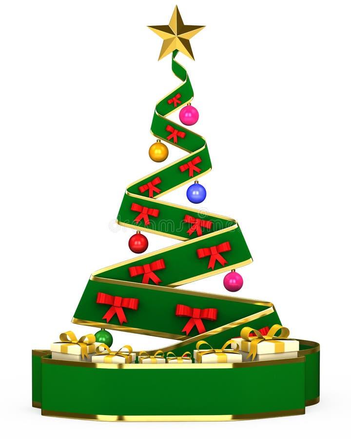 τρισδιάστατο χριστουγεννιάτικο δέντρο με τα παιχνίδια και τα δώρα στοκ εικόνες