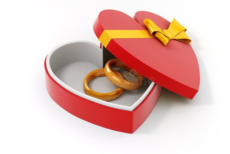 τρισδιάστατο χρυσό δαχτυλίδι σε μια περίπτωση μορφής καρδιών ελεύθερη απεικόνιση δικαιώματος