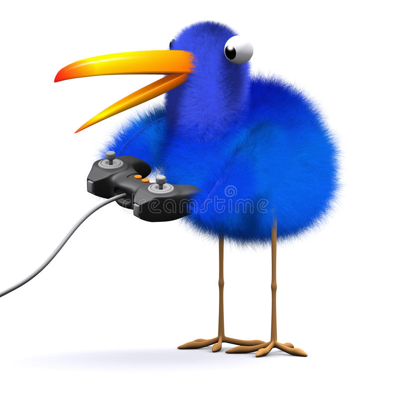 τρισδιάστατο Bluebird παίζει ένα τηλεοπτικό παιχνίδι διανυσματική απεικόνιση