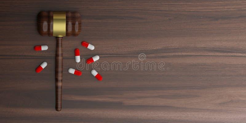 τρισδιάστατο gavel δημοπρασίας απόδοσης με τα χάπια διανυσματική απεικόνιση