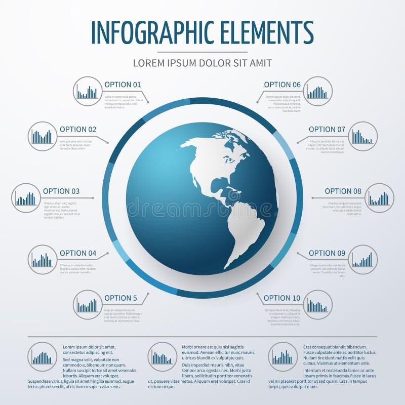 Τρισδιάστατο infographic πρότυπο γήινων σφαιρών απεικόνιση αποθεμάτων